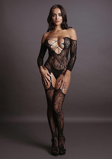 בגד גוף רשת גם גרביונים מחוברים בעל מחשוף V עמוק